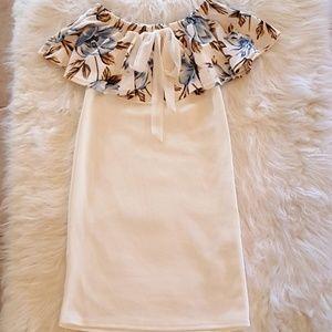 Dresses & Skirts - White Floral Off Shoulder Mini Dress